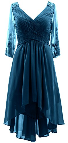 MACloth 3/4 Sleeves V Neck Mother of the Bride Dress Hi-Lo Formal Evening Gown Teal