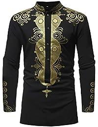 5b59fd798c87 GreatFun Shirt Uomo Stampa Autunno Inverno Luxury Stampa Africana Manica  Lunga Camicia Dashiki Top Camicetta Quotidiana