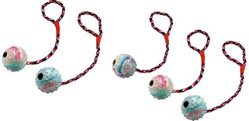 5 Stück Ball am Seil Wurfball Schleuderball Hundespielzeug Bringsel Wurfspielzeug Apportierspielzeug Zerrspielzeug für Hunde Hundeball mit Wurfschlaufe Spielball Spielseil Spielzeug mit Glocke Glöckchen