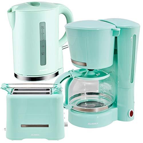 Alaska Frühstücksset 3 in 1 2209 | Wasserkocher Toaster Kaffeemaschine mintgrün | 3 teilige Kombination im retro Vintage Stil | Filtermaschine mit Glaskanne für 12 Tassen