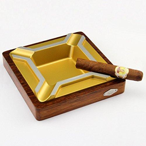 HU Posacenere per Sigarette in Metallo Creativo Posacenere per Sigarette (18.2 * 18.2 * 3.9cm) Nero, Oro (Colore : Oro)