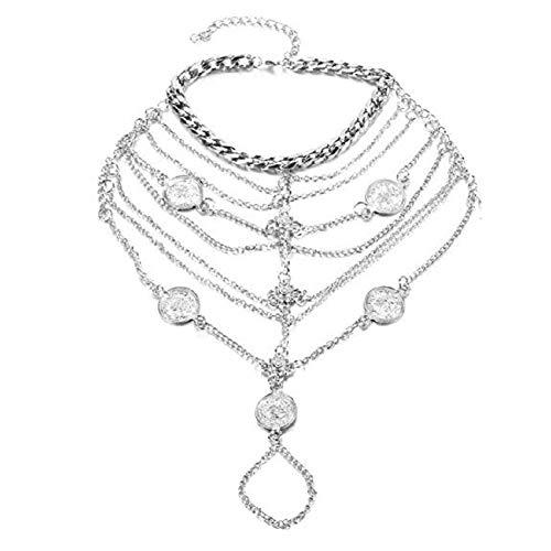 1 Paar Boho Vintage-Silbermünze Blessing Symbol Quaste Fußkettchen-Fuss-Schmuck (Silber)