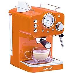 Oursson Machine à expresso pour poudre & Pads, 3 Ans Garantie, Expresso, Cappuccino, Latte, Moka, 15 bars, Orange, 1,5 litres, EM1500/OR