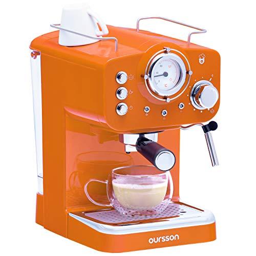Oursson Kaffeemaschine, 3 Jahre Garantie, 15 Bar Espressomaschine, Espresso-Siebträgermaschine, Milchaufschäumer für Cappuccino und Latte, 1.5L Tank, EM1500/OR (Orange)