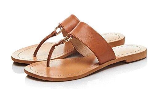 GLTER Donna Sandali Open Toe Flip Flop Toe fondo in cuoio freddi dei pistoni Femminile Beach pattini casuali Rosso Marrone Nero red brown