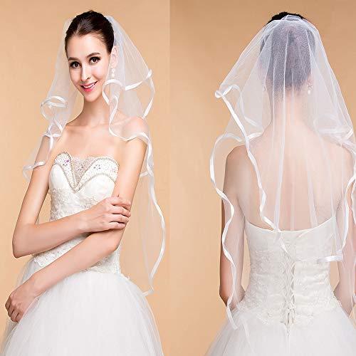 Braut-Schleier, Hochzeit Schleier Fur die Braut, Bordüre, Ellenbogenlänge, Elfenbein -