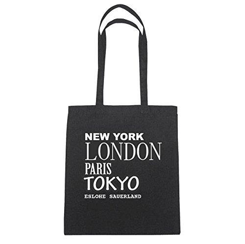 JOllify Eslohe Sauer Paese di cotone felpato B2561 schwarz: New York, London, Paris, Tokyo schwarz: New York, London, Paris, Tokyo