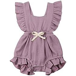 Body Infantil para bebés, bebés recién Nacidos con Volantes Mamelucos sin Mangas Mono Trajes Ropa (70cm (3-6meses), púrpura)