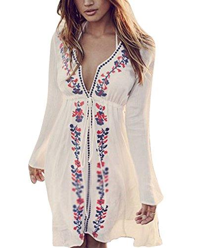 Donne Bikini Cover Up Beach Abito Pareo Costume da Bagno Copricostume beachwear Bianco Bianco