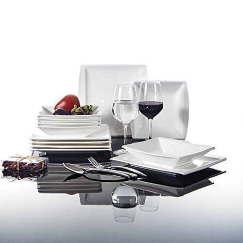 MALACASA, Serie Blance, Cremeweiß Porzellan Tafelservice 12 TLG. Set Kombiservice Geschirrset mit je 6 Speiseteller und 6 Suppenteller für 6 Personen 7