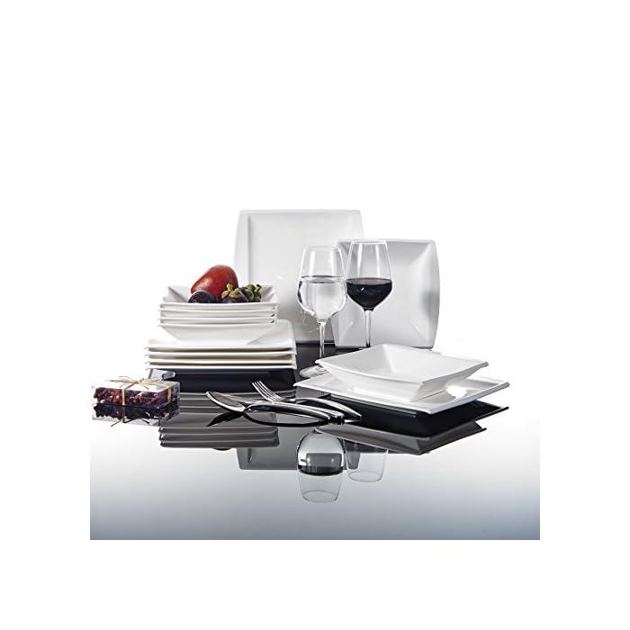 MALACASA, Serie Blance, Cremeweiß Porzellan Tafelservice 12 TLG. Set Kombiservice Geschirrset mit je 6 Speiseteller und 6 Suppenteller für 6 Personen 1