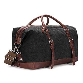 BAOSHA HB-14 Oversized Canvas Weekender Bag Travel Carry On Duffel Tote Bags Weekend Overnight Travel Bag Unisex Travel Holdall Handbag with PU Leather Decoration (Black)