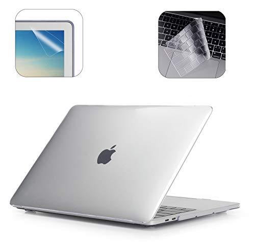 i-Buy Gummierte Harte Schutzhülle Hülle für Apple MacBook Air 13 Zoll (Modell A1932 2018.11 Freigabe) + TPU Tastaturschutz + Schutzfolie- Klar