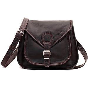LA BESACE indus, la bolsa de tendencia, pequeña bolsa de piel para la ciudad, color marrón oscuro PAUL MARIUS Vintage & Retro