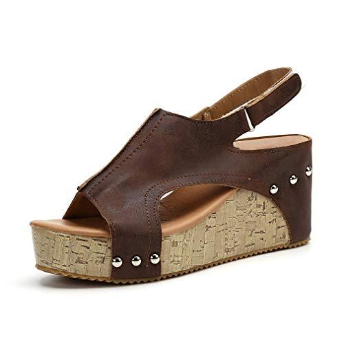 Damen Sandalen Keilabsatz Sommerschuhe Plateau Wedge Schuhe Knöchel Schnalle Peep Toe Elegant High Heels Schwarz Beige Braun Gold Gr.34-43 BR40 - Sandalen Frauen Wedges Schuhe