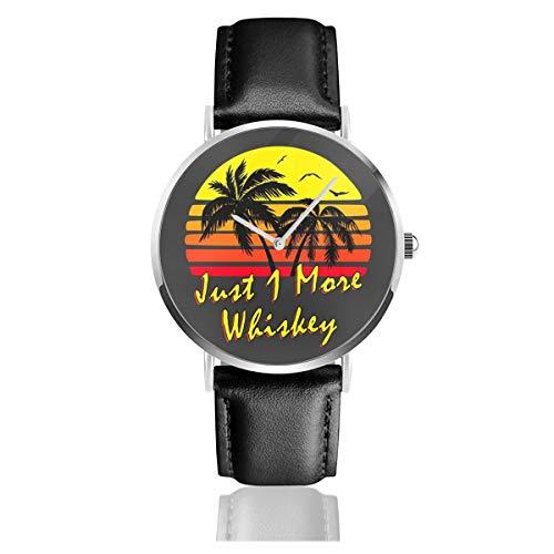 Unisex Business Casual Just 1 More Whiskey Vintage Sun Watches Quarz Leder Armbanduhr mit schwarzem Lederband für Herren Damen Young Collection Geschenk