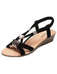 Sandalias mujer, Manadlian Bohemia Sandalias de señora Zapatos de cuñas de mujer Con cuentas Ocio Peep-Toe Zapatos al aire libre (CN:35, Negro)