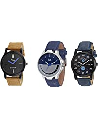 WM Stylish Quartz Analog Watches Leather Multicolor Combo For Men And Boys WMC-002-BR-AWC-007-AWC-006aeons