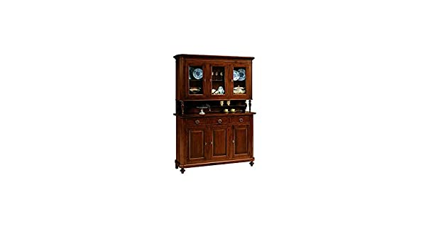Credenza Arte Povera Vetro : Cristalliera legno arte povera 3 ante vetro su credenza 158x47xh.208