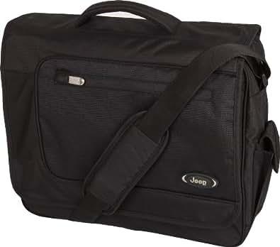 Jeep Black Laptop Messenger Bag - Genuine Jeep computer shoulder messenger bag for men and women - Unisex fabric shoulder messenger bag