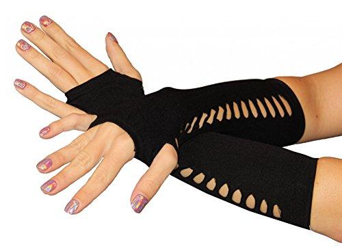 Foxxeo Lange Schwarze Handschuhe für Damen Damenhandschuhe schwarz löcher sexy Punk Steampunk Burlesque Karneval Fasching fingelose Halloween Netzhandschuhe fingerlos Hände