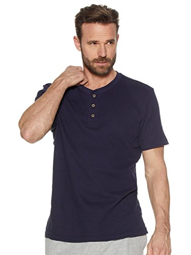 17304583fe9b8f M&Co Men's Short Sleeve Cotton Button Crew Neck Loungwear Pyjama Top ...