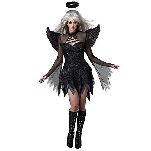 Engel Gefallene Mädchen Kostüm - Frauen Mädchen Sexy Bösen Gefallenen Darkness Engel Kostüm mit Flügeln Stirnband Kleid für Halloween Thema Party Cosplay Bühne Leistung Fotografie Schwarz
