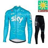 Sports Thriller Rider XiXiMei EU Stil 3 Mountain Bike Fahrradbekleidung für Herren MTB Fahrrad Radtrikot Langarm Thermisch Warm Jacke und Radhose Lang Anzug Large X-Large
