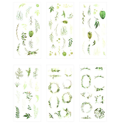 Kawaii Romantische Scrapbooking Dekorative Schreibwaren-Aufkleber DIY Craft Label 3er-Pack Green Leaves -
