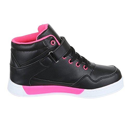 Chaussures pour enfants, 712–8, loisirs chaussures sneakers sportive Noir - Schwarz Rosa
