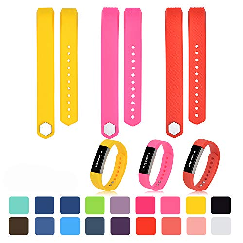 iFeeker Klein Size Bunte Weiche Silikon Ersatz Sport Uhrenarmbänder Armband Strap für Fitbit Alta/Alta HR mit Kostenlosen Sicheren Verschluss Ringe (Gelb + Rosa + Red)