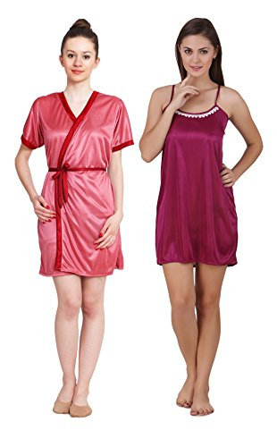 Freely Multi Color Satin Short Robe & Nighty Set - Pack of 2