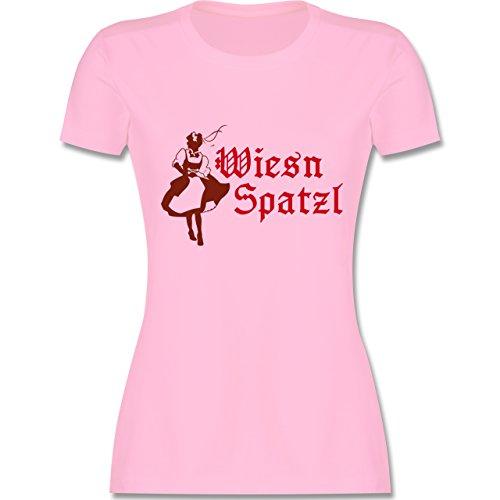 Oktoberfest Damen - Wiesn Spatzl - tailliertes Premium T-Shirt mit Rundhalsausschnitt für Damen Rosa