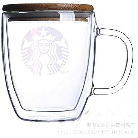 ZIMEI Tazza in vetro creativo, tazzina di espresso doppio coibentato e legno 475ml , 2 set