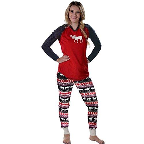 Mangotree Damen Schlafanzug Weihnachten Familie Pyjama Setzt Kinder Mama Papa Hirsch Gedruckten Saisonale Nachtwäsche (EU40, Mom)