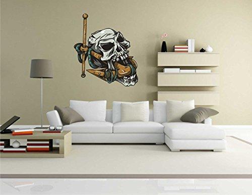 Adesivo da parete, per gioco educativo a tema scientifico disgusting Skull Skull-022-Decorazione da parete, 70 x 79 cm