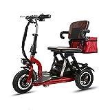 AA100 Ligero, Silla de Ruedas eléctrica móvil, Patas y pies para Personas discapacitadas utilizan el Scooter eléctrico de batería de Litio 48V12AH de Tres Ruedas (Rojo)