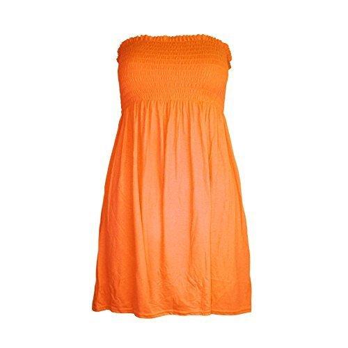 Neu Damen Damen Gerüscht Trikot Einfach Hauchdünn Ausgestellt Swing Bandeau Boobtube Top - Neon Orange - Leuchtend Sommerlich Junge Mode, Übergröße DE 46