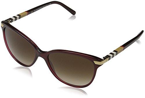 Burberry Unisex BE4216 Sonnenbrille, Rot (Gestell: bordeaux, Gläser: braun-verlauf 301413), Large (Herstellergröße: 57)