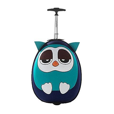 Kinderkoffer Kindergepäck Kinder Rollen Gepäck Koffer Schultaschen Hartschalenkoffer Reisekoffer Kindertrolley Reise , i-baby Blue Owl