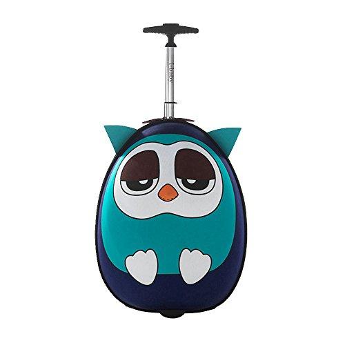 Imagen de i baby maletas infantiles con ruedas equipaje rígido de viaje cabina  y bolsa para niños niñas ropa favoritos juguetes 3d dibujos animados búho azul para chicos chicas 4 10 años