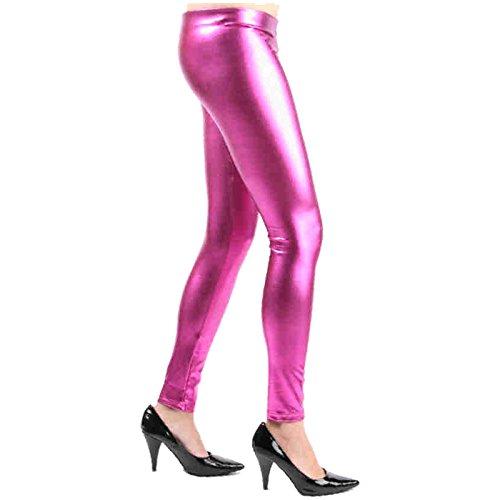 Leggins Gr. S-XL Satin Metallic glänzend Party Shirt Glanz Farbauswahl Hose (S/M, Pink)