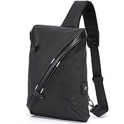 Schultertaschen Crossbody Bag Brusttasche All-in-One Einzigartiges Design mit USB Port für Herren - Sling Rucksack Umhängetasche Groß Wasserdicht Anti-Diebstahl - Schwarz