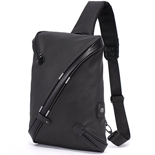 Bolso Cruzado Grande para Hombre - Mochila de Bandolera con USB Carga Antirrobo, All-in-One Diseño Sling Bag de Moda y Único, Crossbody Impermeable de Poliéster - Negro