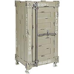 ts-ideen Commode Meuble de rangement Table de chevet 1 porte + 4 roulettes Style industriel/conteneur Coloris kaki