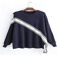 Suéter De Punto A Rayas De Las Señoras, Rayas De Hombro, Color Azul, Unicode