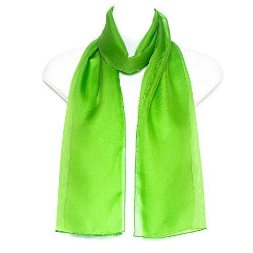 Damen Frau Mädchen Ebene Chiffon Hals Scarf Strickschals/Schal Scarves (Lime Green) (Chiffon Silk Scarve)