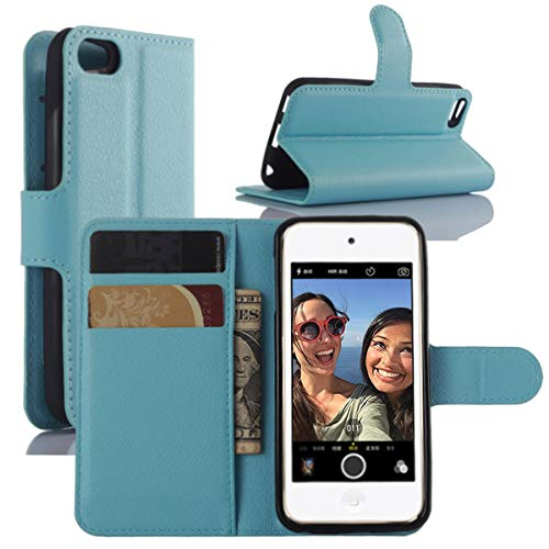 HualuBro iPod Touch 7 Hülle, Leder Brieftasche Etui LederHülle Tasche Schutzhülle HandyHülle Handytasche Leather Wallet Flip Case Cover für Apple iPod Touch 7g 7th Generation 2019 (Blau)