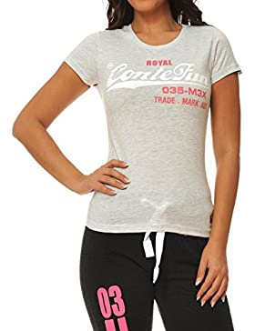 señoras M.Conte camiseta de manga corta camiseta de sudor neón de color rosa púrpura azul gris Rose Rojo Verde...