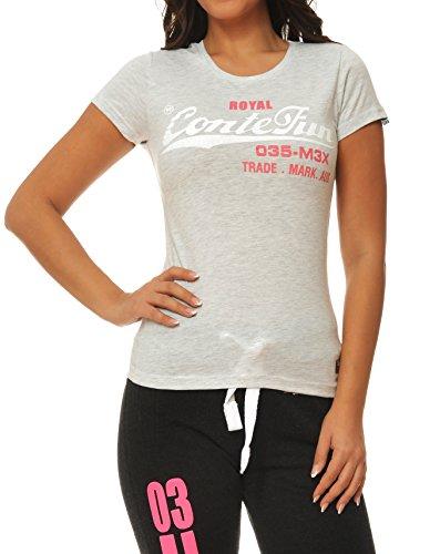 M.Conte Signore T-Shirt Manica Corta T-Shirt Sudore Neon Rosa Viola Grigio Blue Rose Rosso Verde Nero S M L XL Colore Melange grigio